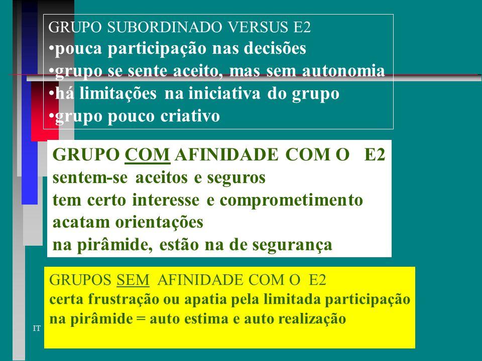 IT ESTILO CONSULTIVO E 2 dá valor à estrutura e relações pessoais aceita participação do grupo mas certifica se os objetivos estão sendo atendidos > p