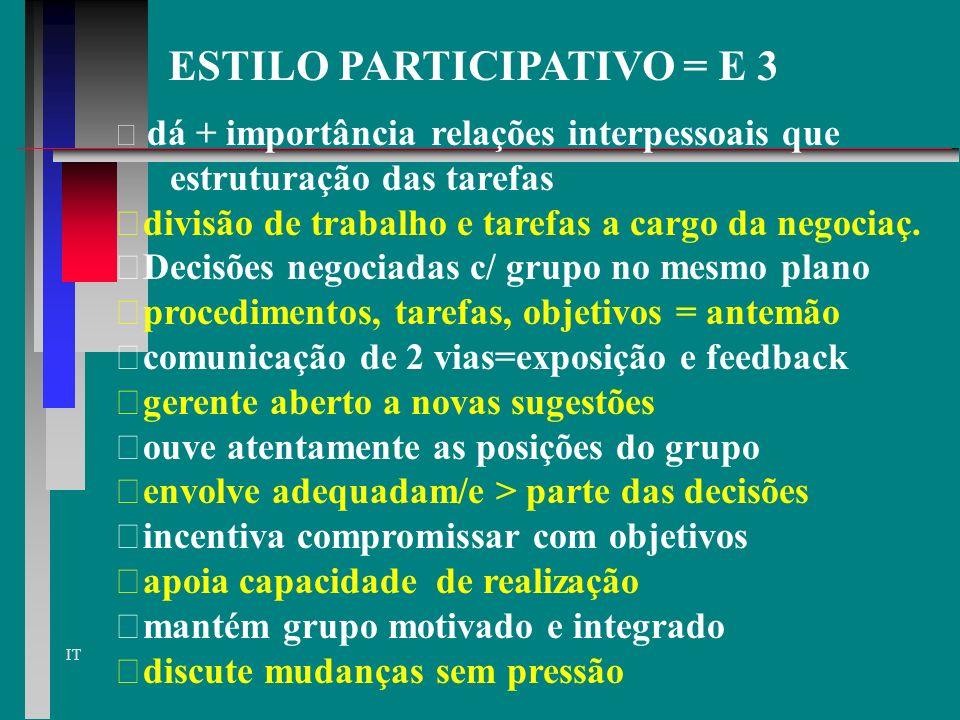 IT GRUPO SUBORDINADO VERSUS E2 pouca participação nas decisões grupo se sente aceito, mas sem autonomia há limitações na iniciativa do grupo grupo pou