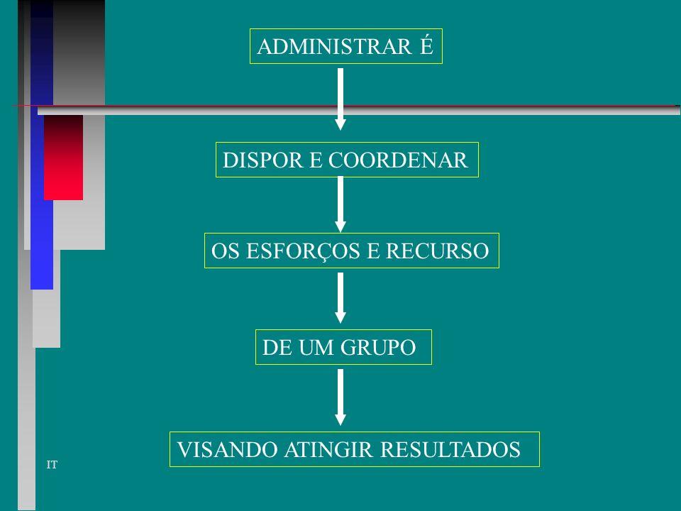IT ADMINISTRAR É DISPOR E COORDENAR OS ESFORÇOS E RECURSO DE UM GRUPO VISANDO ATINGIR RESULTADOS