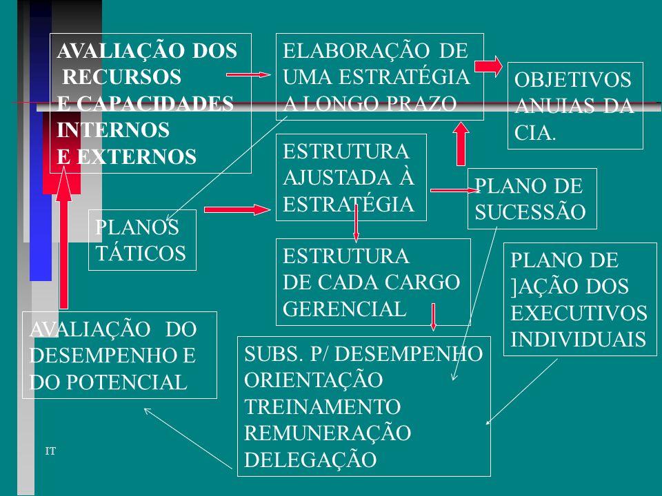 IT DESENVOLVIMENTO DOS PLANOS TÁTICOS os planos táticos = integrados e coordenados atuam em quatro áreas: 1. Planejamento organizacional 2. Planej. do