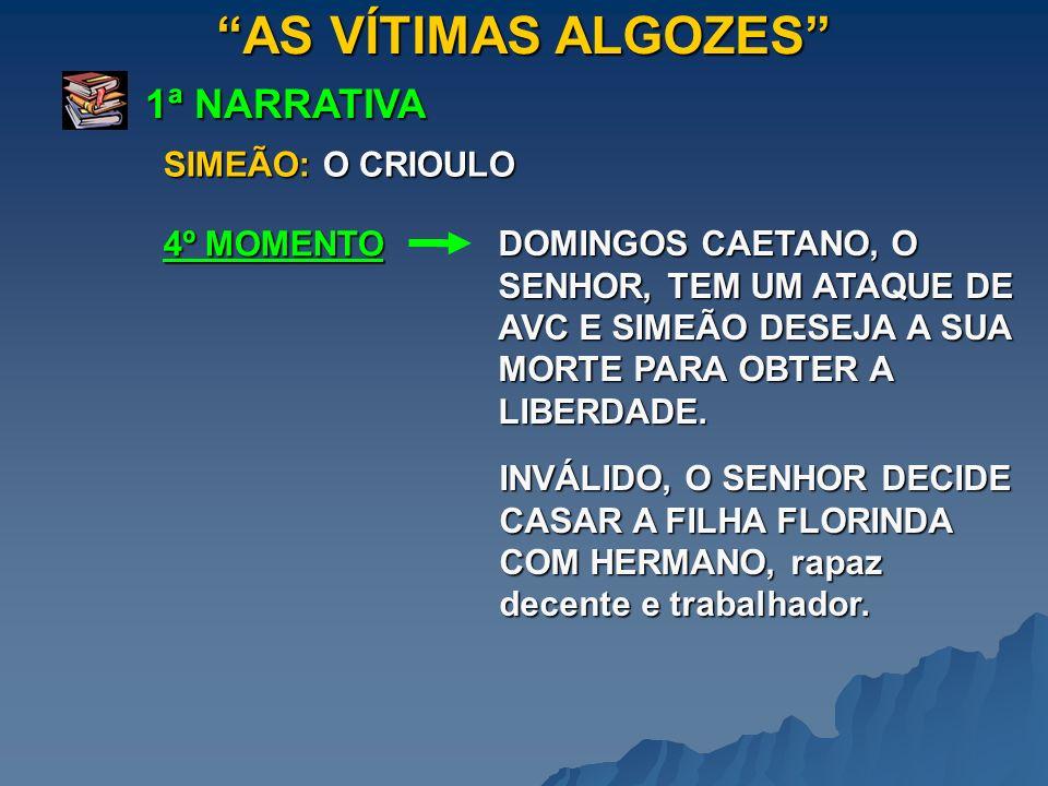 AS VÍTIMAS ALGOZES 1ª NARRATIVA 5º MOMENTO SIMEÃO: O CRIOULO SIMEÃO APROXIMA-SE DE JOSÉ BARBUDO, tornando-se amigo deste.
