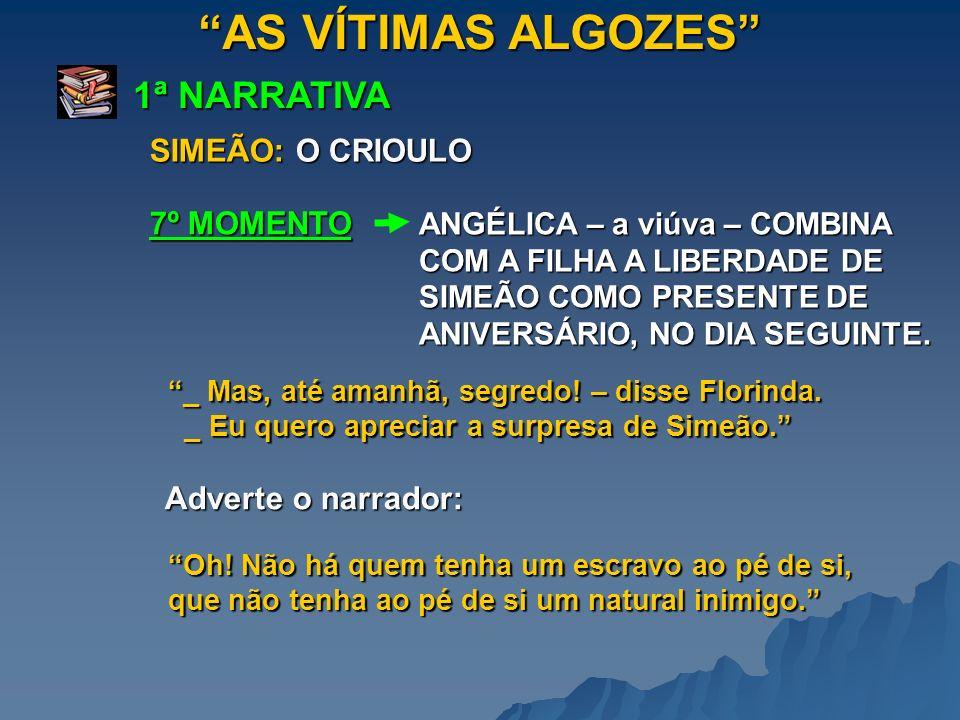 AS VÍTIMAS ALGOZES 1ª NARRATIVA SIMEÃO: O CRIOULO ANGÉLICA – a viúva – COMBINA COM A FILHA A LIBERDADE DE SIMEÃO COMO PRESENTE DE ANIVERSÁRIO, NO DIA SEGUINTE.