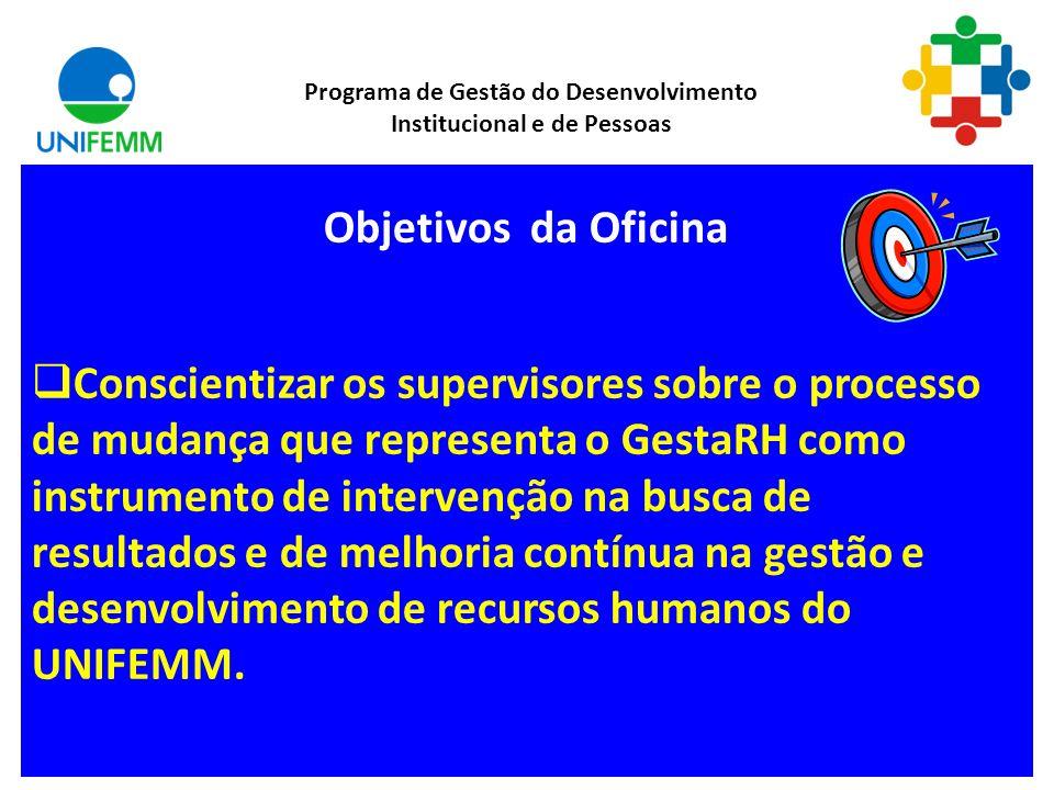 Objetivos da Oficina Conscientizar os supervisores sobre o processo de mudança que representa o GestaRH como instrumento de intervenção na busca de resultados e de melhoria contínua na gestão e desenvolvimento de recursos humanos do UNIFEMM.