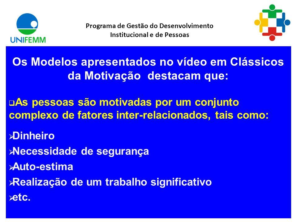 O Vídeo Classicos da Motivação apresenta cinco teorias clássicas de motivação: As teorias X, Y e Z - Douglas McGregor A Hierarquia das Necessidades -