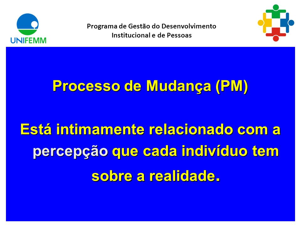 Processo de Mudança (PM) Está intimamente relacionado com a percepção que cada indivíduo tem sobre a realidade.