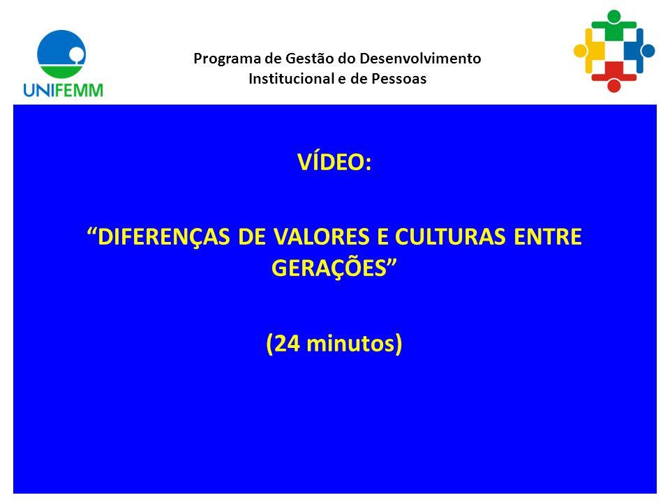 Diferenças entre as gerações Diferenças entre as gerações Programa de Gestão do Desenvolvimento Institucional e de Pessoas