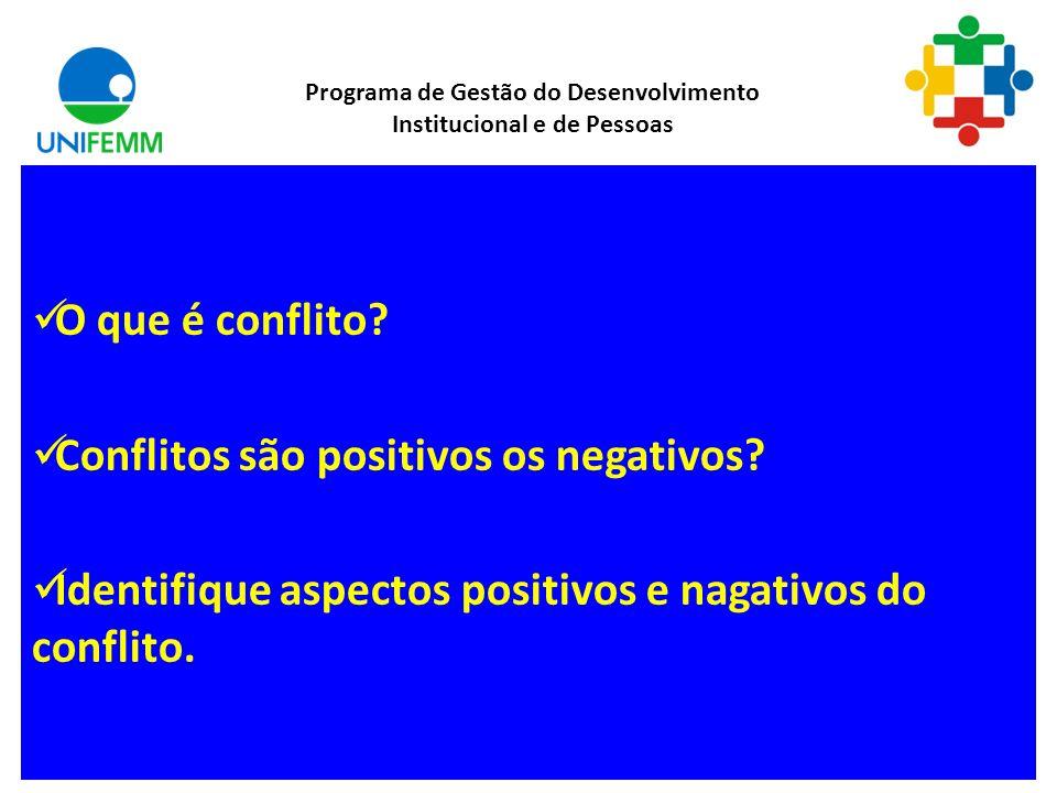 Gestão de Conflitos Programa de Gestão do Desenvolvimento Institucional e de Pessoas