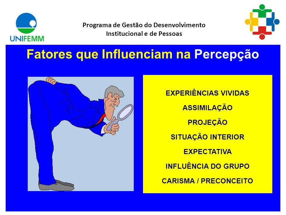 Fatores que Influenciam na Percepção Programa de Gestão do Desenvolvimento Institucional e de Pessoas EXPERIÊNCIAS VIVIDAS ASSIMILAÇÃO PROJEÇÃO SITUAÇÃO INTERIOR EXPECTATIVA INFLUÊNCIA DO GRUPO CARISMA / PRECONCEITO