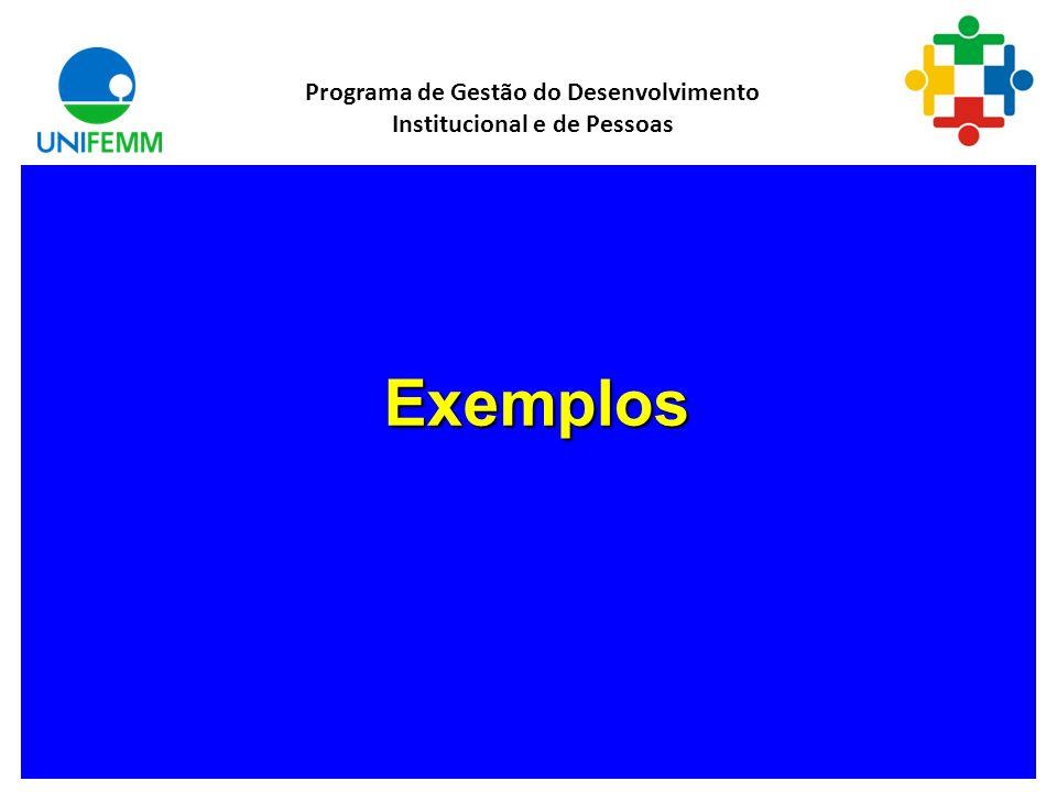 Exemplos Exemplos Programa de Gestão do Desenvolvimento Institucional e de Pessoas