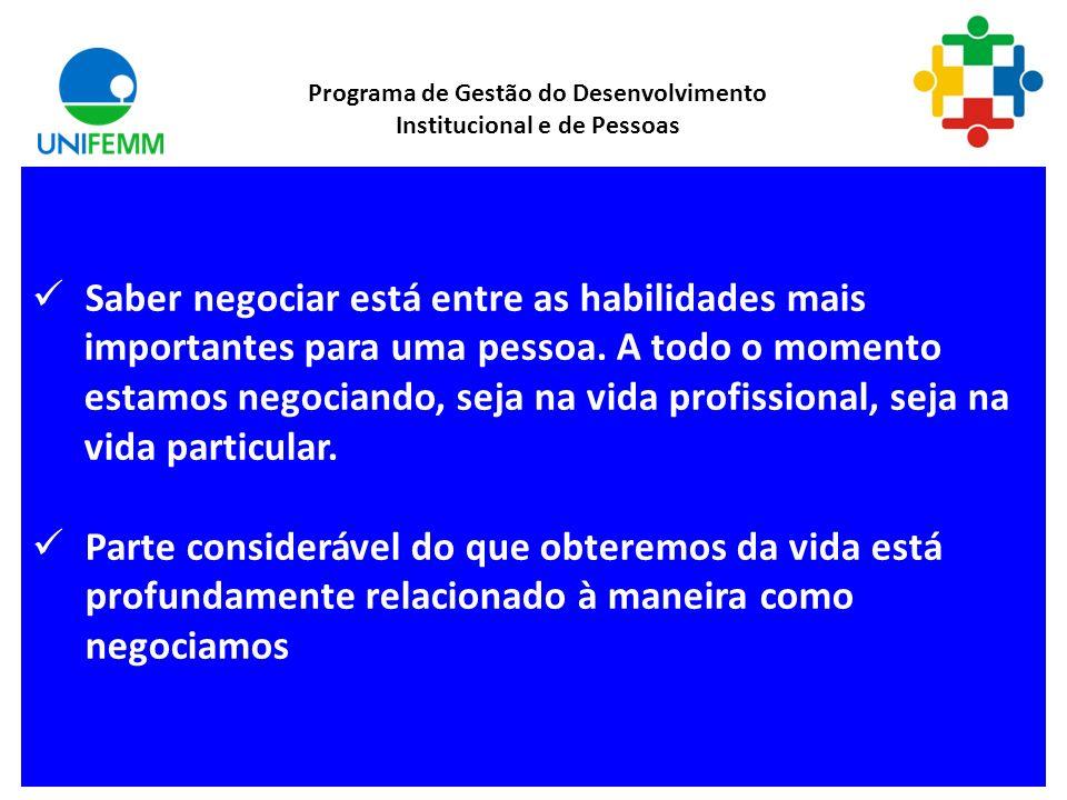 Negociação Negociar faz parte do nosso dia-a-dia. Ocorre nos mais diversos planos da vida de um indivíduo, a nível pessoal, econômico, social e organi