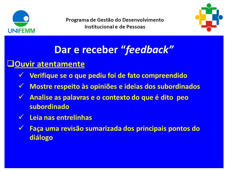 Retroalimentação (Feedback) Programa de Gestão do Desenvolvimento Institucional e de Pessoas