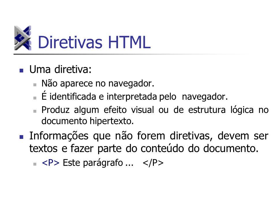 Diretivas HTML Uma diretiva: Não aparece no navegador. É identificada e interpretada pelo navegador. Produz algum efeito visual ou de estrutura lógica