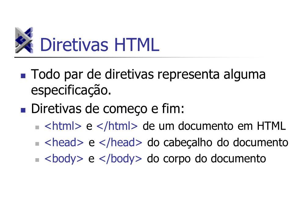 Diretivas HTML Todo par de diretivas representa alguma especificação. Diretivas de começo e fim: e de um documento em HTML e do cabeçalho do documento