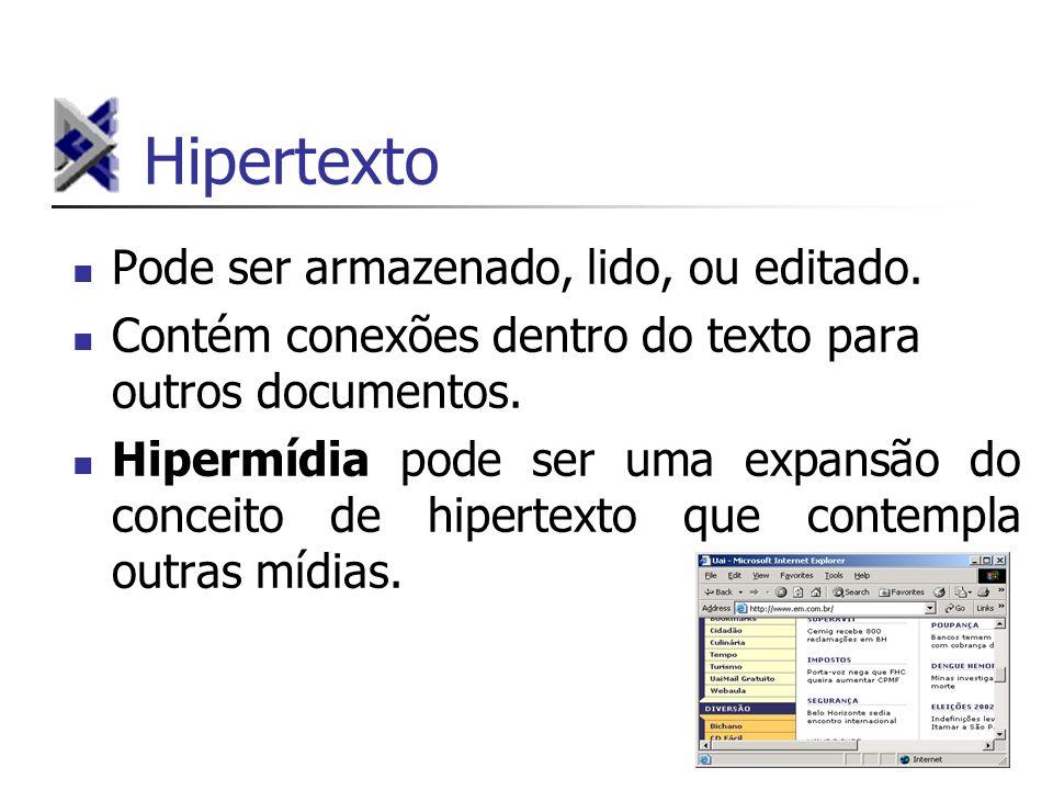 Hipertexto Pode ser armazenado, lido, ou editado. Contém conexões dentro do texto para outros documentos. Hipermídia pode ser uma expansão do conceito