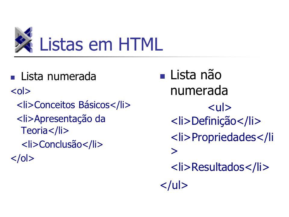 Listas em HTML Lista numerada Conceitos Básicos Apresentação da Teoria Conclusão Lista não numerada Definição Propriedades Resultados