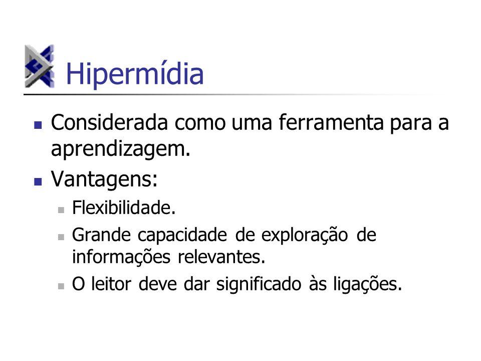 Hipermídia Considerada como uma ferramenta para a aprendizagem. Vantagens: Flexibilidade. Grande capacidade de exploração de informações relevantes. O