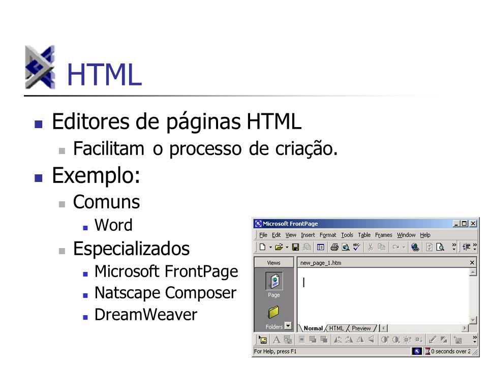 HTML Editores de páginas HTML Facilitam o processo de criação. Exemplo: Comuns Word Especializados Microsoft FrontPage Natscape Composer DreamWeaver