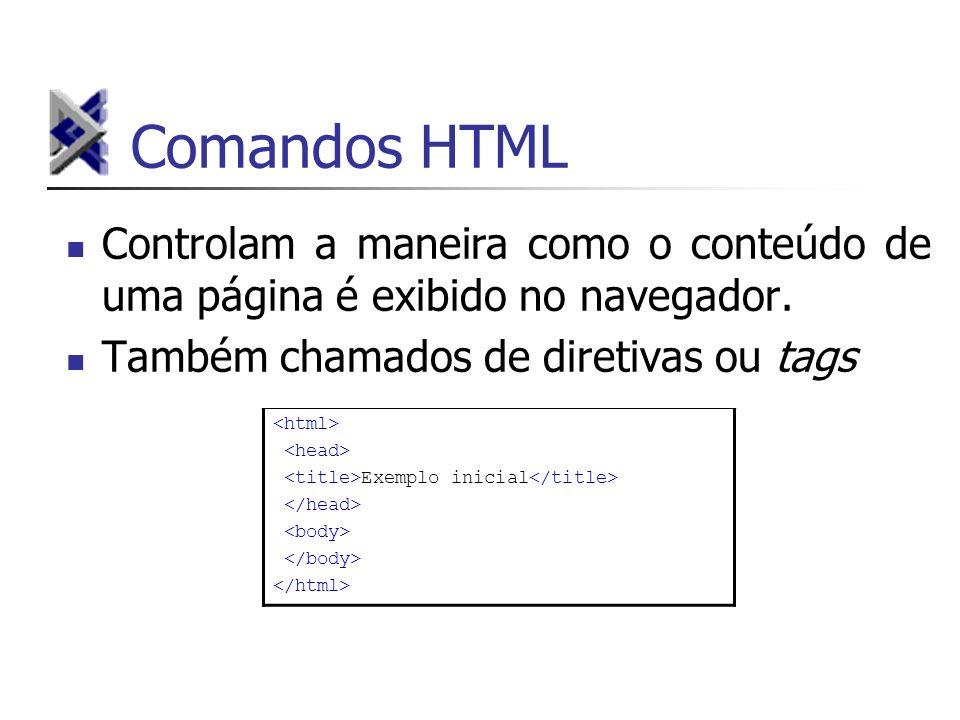 Comandos HTML Controlam a maneira como o conteúdo de uma página é exibido no navegador. Também chamados de diretivas ou tags Exemplo inicial