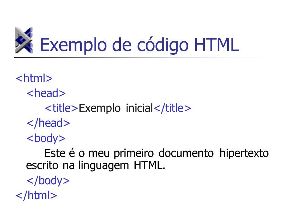 Exemplo de código HTML Exemplo inicial Este é o meu primeiro documento hipertexto escrito na linguagem HTML.