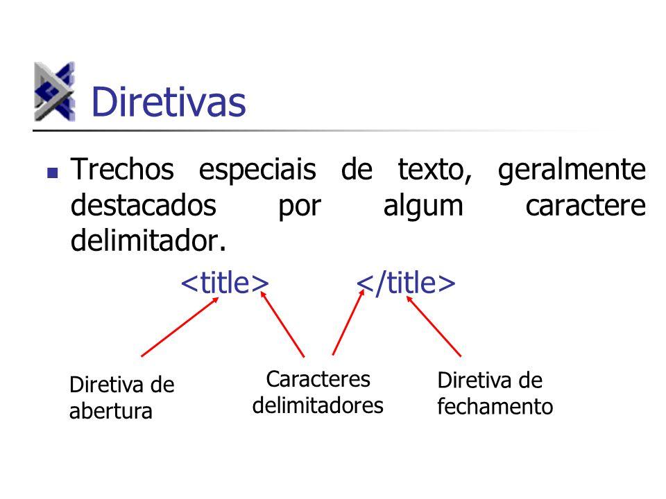 Diretivas Trechos especiais de texto, geralmente destacados por algum caractere delimitador. Caracteres delimitadores Diretiva de abertura Diretiva de
