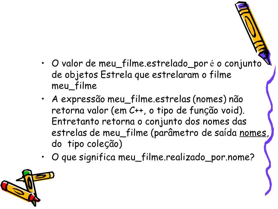 O valor de meu_filme.estrelado_por é o conjunto de objetos Estrela que estrelaram o filme meu_filme A expressão meu_filme.estrelas (nomes) não retorna