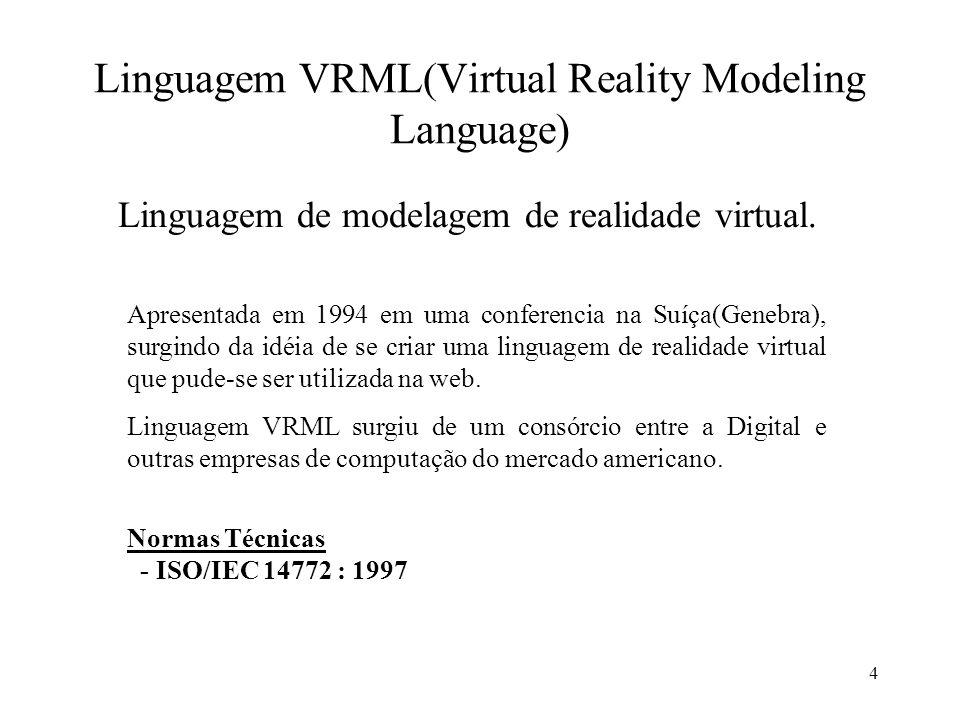 35 Importante Para realizarmos linhas de comentário em VRML utilizamos o símbolo (#), para cada linha que se deseja desconsiderar no programa.