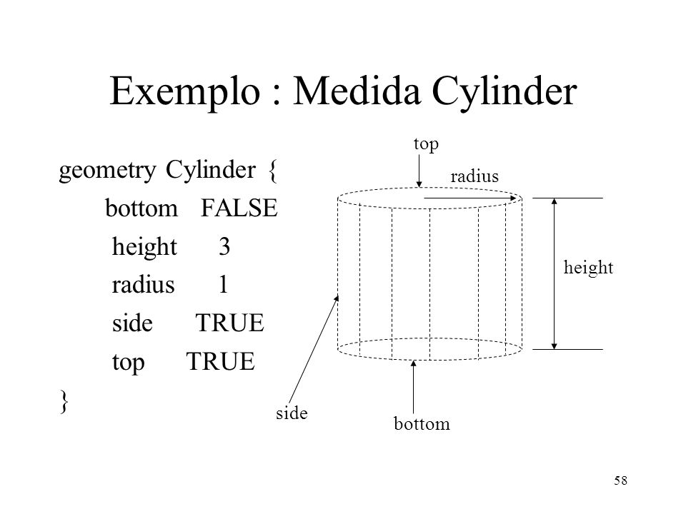 58 Exemplo : Medida Cylinder geometry Cylinder { bottom FALSE height 3 radius 1 side TRUE top TRUE } bottom height radius side top