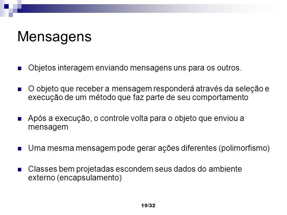 19/32 Mensagens Objetos interagem enviando mensagens uns para os outros. O objeto que receber a mensagem responderá através da seleção e execução de u