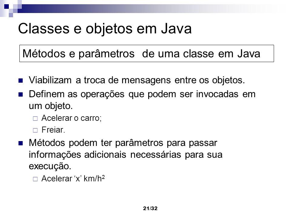 21/32 Classes e objetos em Java Viabilizam a troca de mensagens entre os objetos. Definem as operações que podem ser invocadas em um objeto. Acelerar