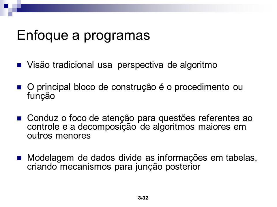 3/32 Enfoque a programas Visão tradicional usa perspectiva de algoritmo O principal bloco de construção é o procedimento ou função Conduz o foco de at