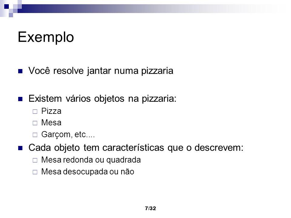 7/32 Exemplo Você resolve jantar numa pizzaria Existem vários objetos na pizzaria: Pizza Mesa Garçom, etc.... Cada objeto tem características que o de