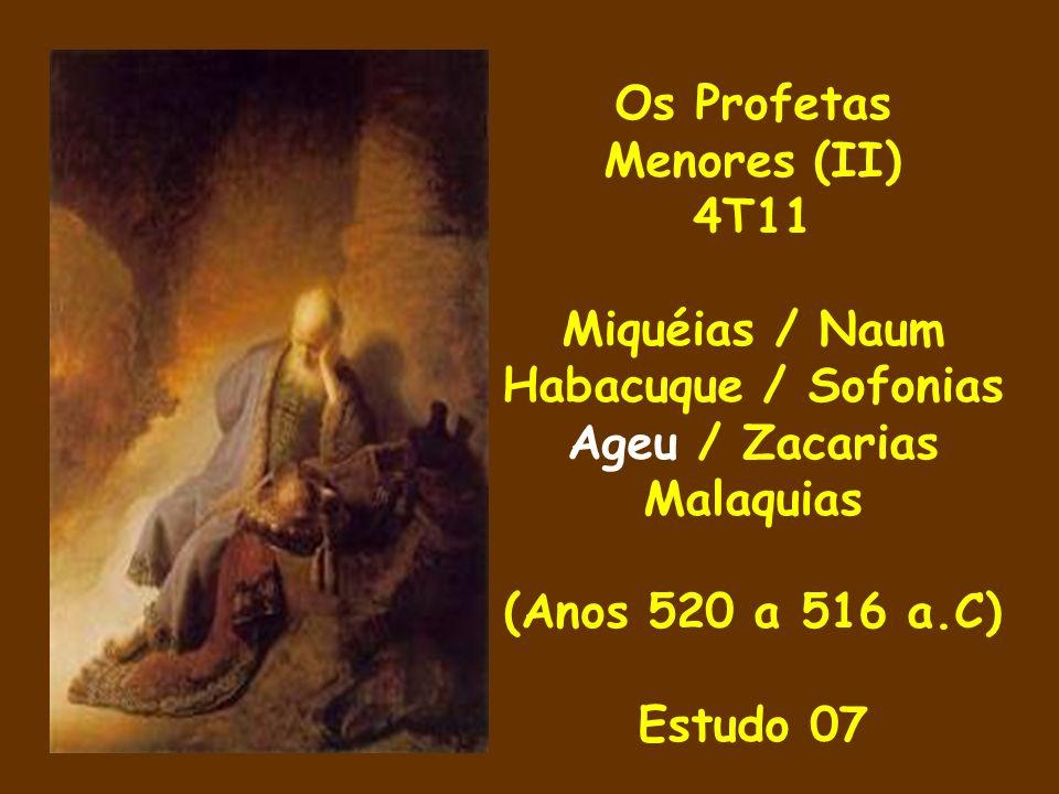 Os Profetas Menores (II) 4T11 Miquéias / Naum Habacuque / Sofonias Ageu / Zacarias Malaquias (Anos 520 a 516 a.C) Estudo 07