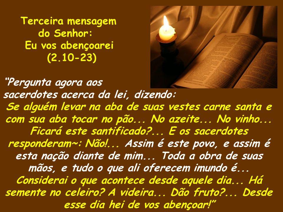 Terceira mensagem do Senhor: Eu vos abençoarei (2.10-23) Pergunta agora aos sacerdotes acerca da lei, dizendo: Se alguém levar na aba de suas vestes c