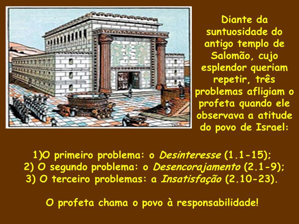 1)O primeiro problema: o Desinteresse (1.1-15); 2) O segundo problema: o Desencorajamento (2.1-9); 3) O terceiro problemas: a Insatisfação (2.10-23).