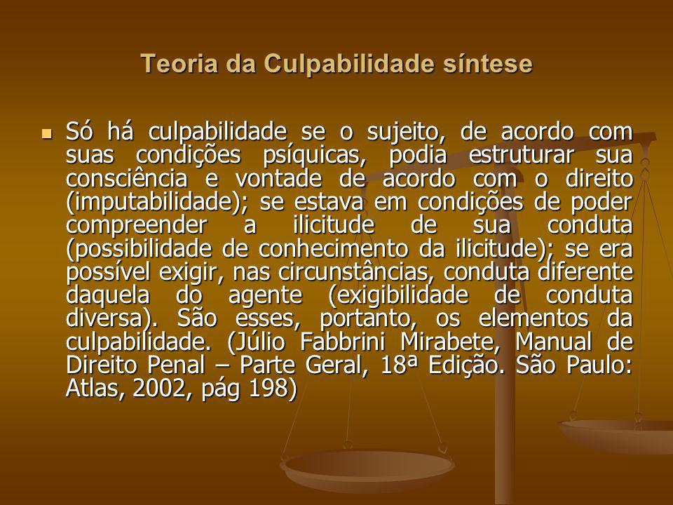 Teoria da Culpabilidade síntese Só há culpabilidade se o sujeito, de acordo com suas condições psíquicas, podia estruturar sua consciência e vontade d