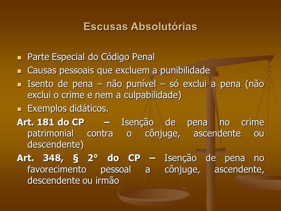 Escusas Absolutórias Parte Especial do Código Penal Parte Especial do Código Penal Causas pessoais que excluem a punibilidade Causas pessoais que excl