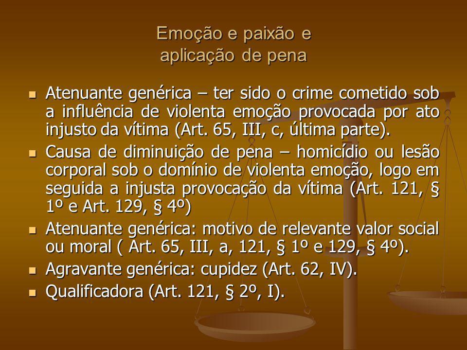 Emoção e paixão e aplicação de pena Atenuante genérica – ter sido o crime cometido sob a influência de violenta emoção provocada por ato injusto da vítima (Art.