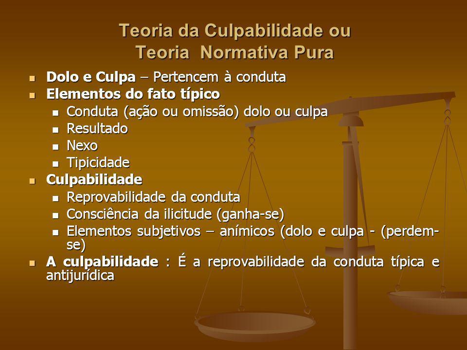 Teoria da Culpabilidade ou Teoria Normativa Pura Dolo e Culpa – Pertencem à conduta Dolo e Culpa – Pertencem à conduta Elementos do fato típico Elemen