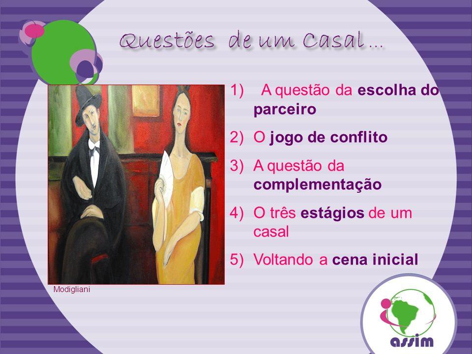 1) A questão da escolha do parceiro 2)O jogo de conflito 3)A questão da complementação 4)O três estágios de um casal 5)Voltando a cena inicial Modigli