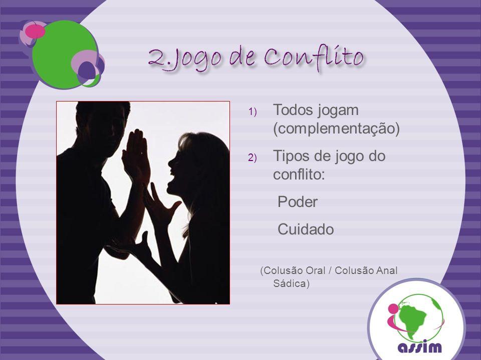 1) Todos jogam (complementação) 2) Tipos de jogo do conflito: Poder Cuidado (Colusão Oral / Colusão Anal Sádica)