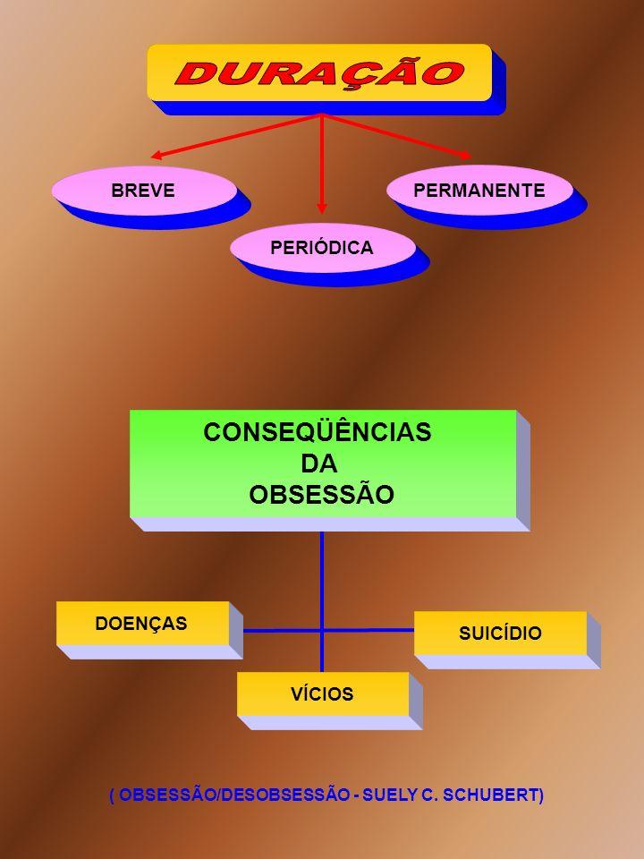 CONSEQÜÊNCIAS DA OBSESSÃO ( OBSESSÃO/DESOBSESSÃO - SUELY C. SCHUBERT) SUICÍDIO DOENÇAS VÍCIOS BREVE PERIÓDICA PERMANENTE