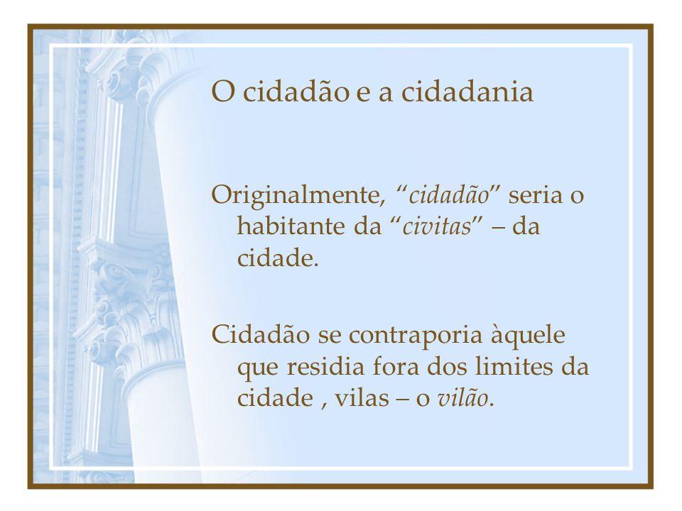 O cidadão e a cidadania Originalmente, cidadão seria o habitante da civitas – da cidade.