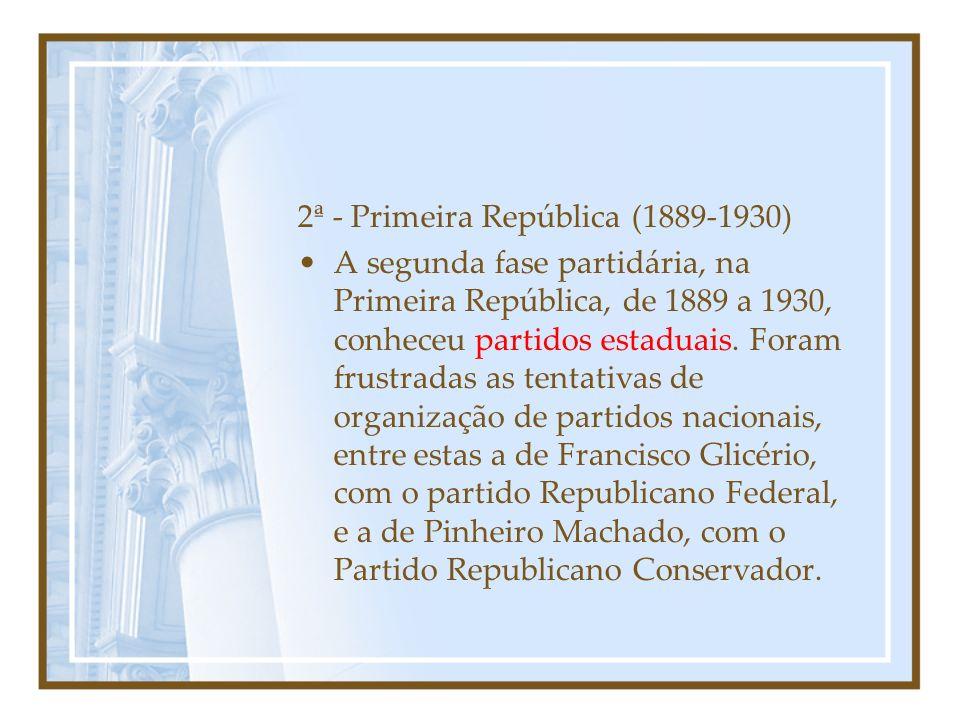 As 7 Fases Partidárias 1ª - Monárquica (1837): As rebeliões provinciais da regência possibilitaram a formação de dois grandes partidos - o Conservador e o Liberal -, que dominaram a vida política até o final do Império.