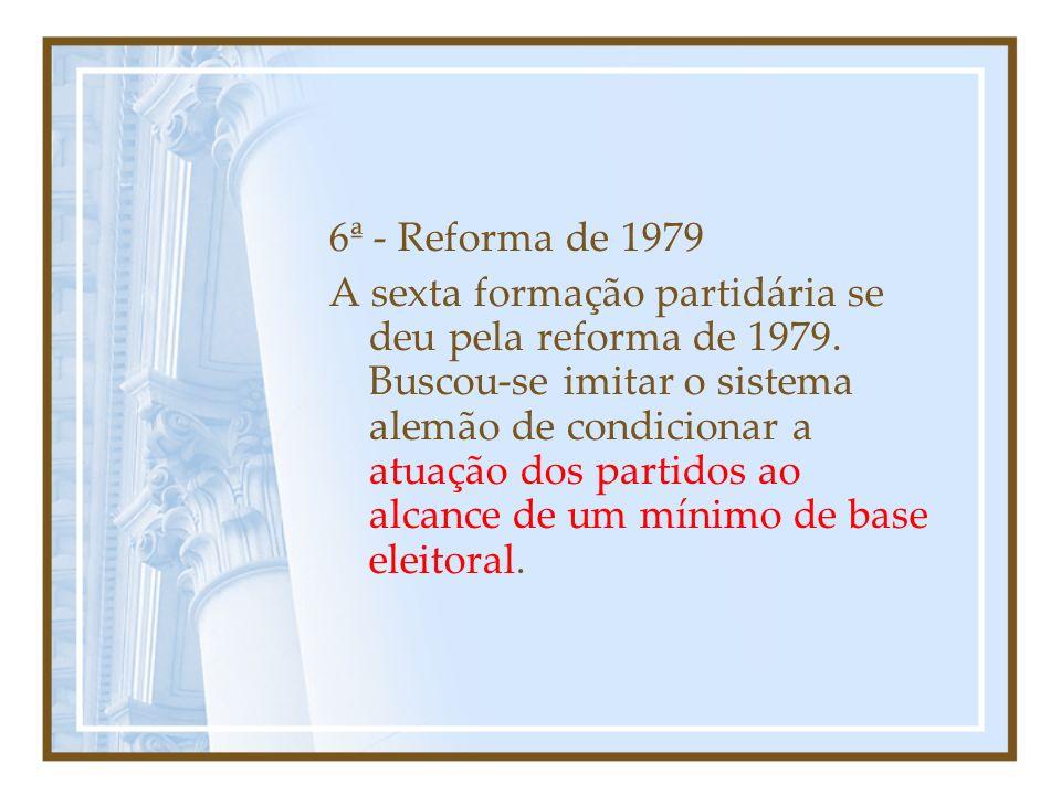 5ª - Regime Militar e Bipartidarismo (1964-1979) O golpe militar de 1964 iniciou a quinta fase partidária, com o bipartidarismo, que segundo alguns teria sido uma admiração ingênua do presidente Castello Branco pelo modelo britânico e segundo outros teria sido uma mexicanização .