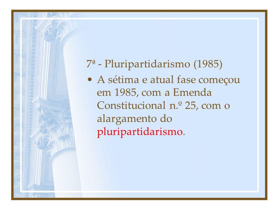 6ª - Reforma de 1979 A sexta formação partidária se deu pela reforma de 1979.