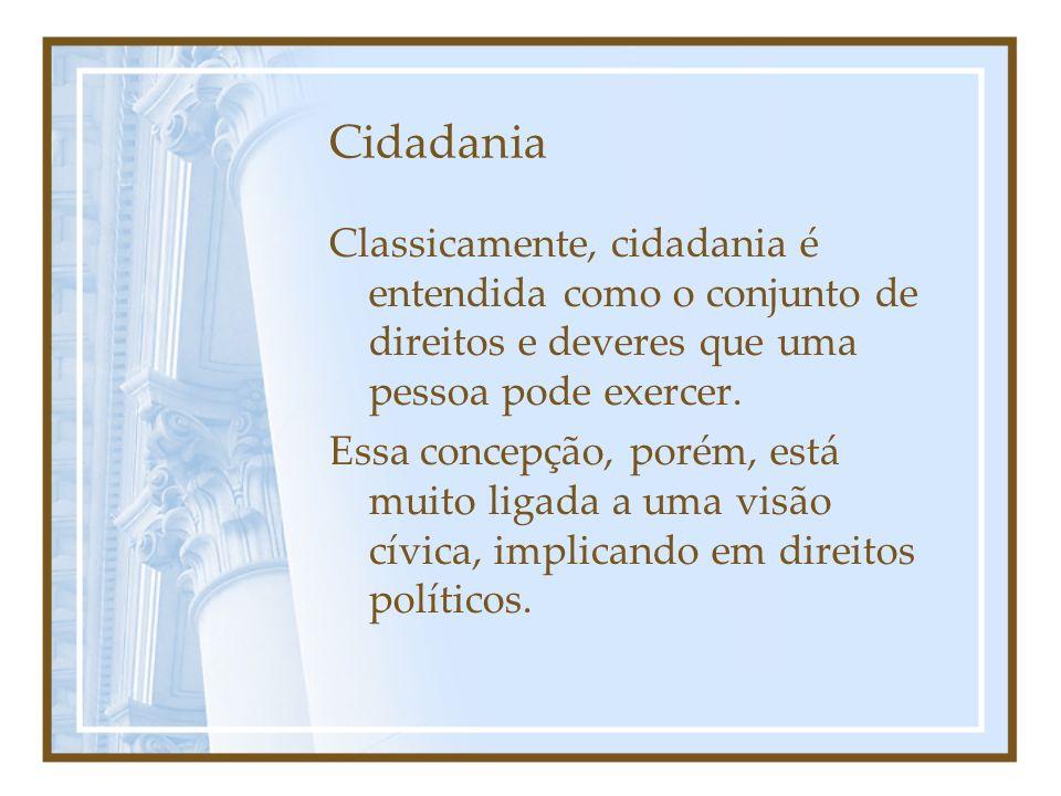 Cidadania Classicamente, cidadania é entendida como o conjunto de direitos e deveres que uma pessoa pode exercer.