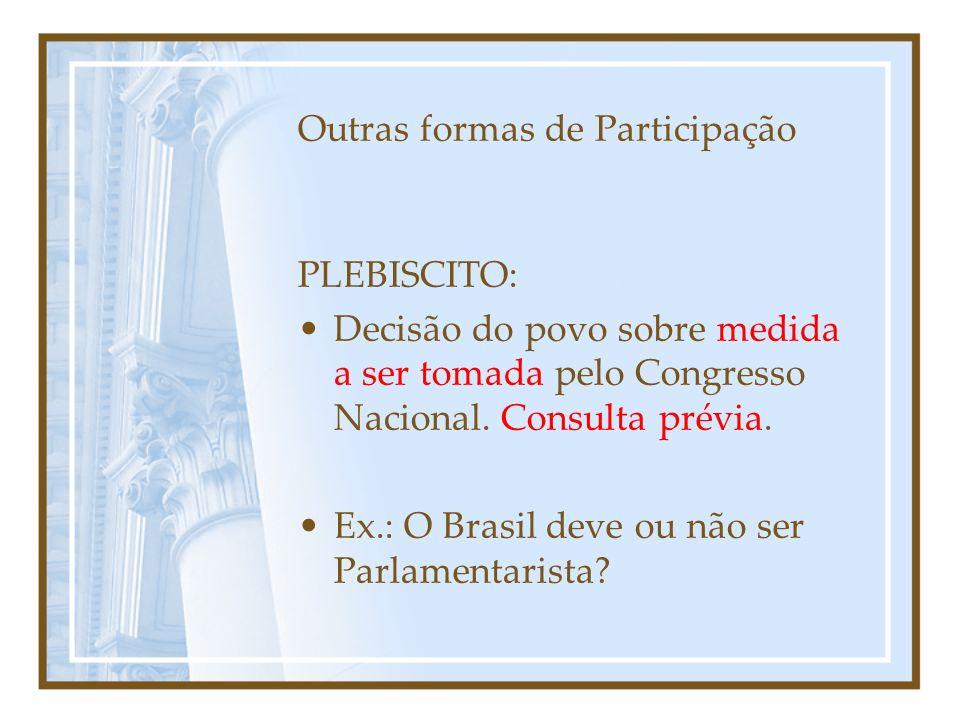 Condições para ser votado -Nacionalidade brasileira (nata ou naturalizada); -Pleno exercício dos direitos políticos (votar); -Domicílio eleitoral na circunscrição; -Filiação partidária; -Idade mínima: 18 anos (vereador); 21 (Prefeito, vice, Dep.