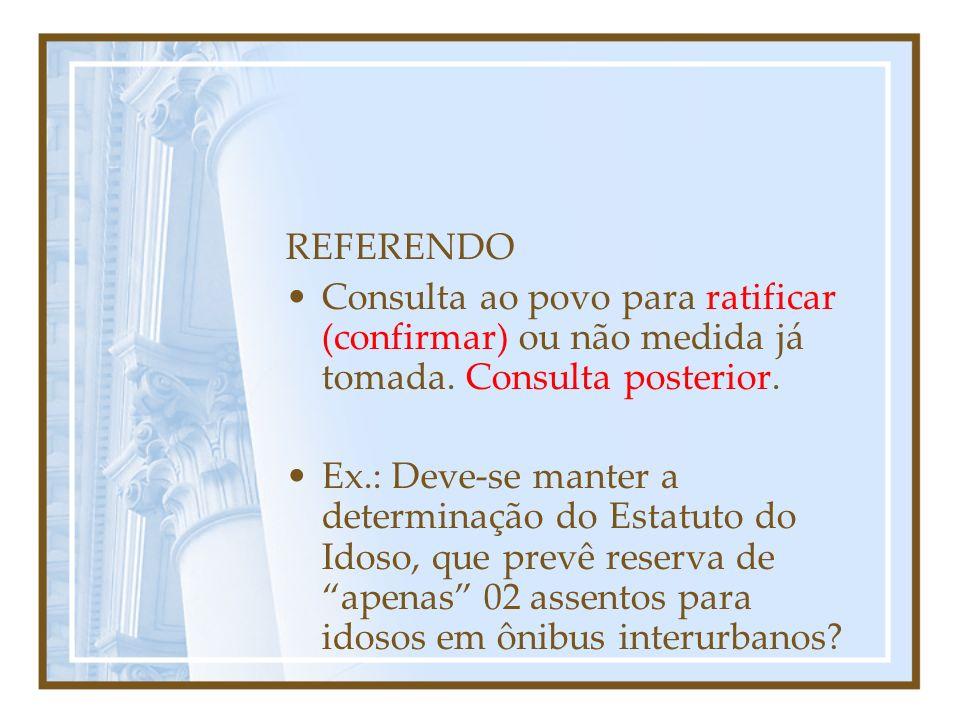 Outras formas de Participação PLEBISCITO: Decisão do povo sobre medida a ser tomada pelo Congresso Nacional.