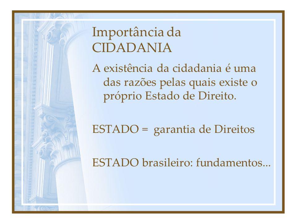 Importância da CIDADANIA A existência da cidadania é uma das razões pelas quais existe o próprio Estado de Direito.