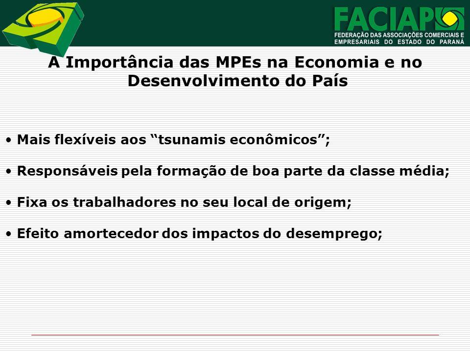 A Importância das MPEs na Economia e no Desenvolvimento do País Mais flexíveis aos tsunamis econômicos; Responsáveis pela formação de boa parte da cla